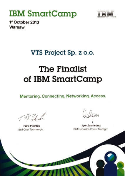 Dyplom za drugie miejsce dla VTS Project